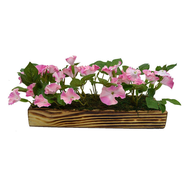Artificial Flower Morning Glory in Wooden Tray