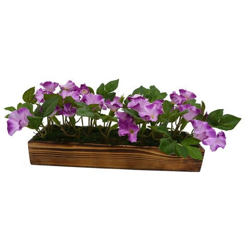 Artificial Flower Morning Glory in Wooden Tray - Fancy Mart