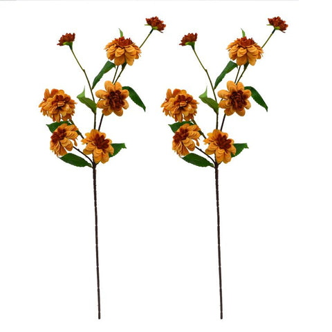 Artificial Flower Stick Camellia Japonica without Pot - Set of 2
