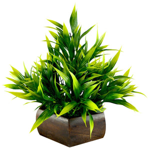 Artificial Bamboo Leaves Plant with Natural Wood Pot - Fancy Mart