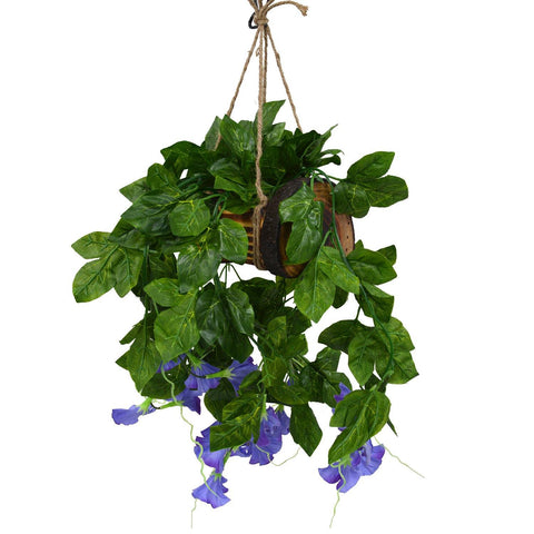Artificial Falling Flowers Hanging in Wood Buckle Pot-1
