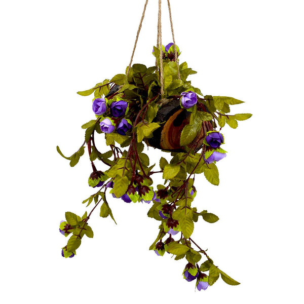 Artificial Falling Flowers Hanging in Wood Buckle Pot-2 - Fancy Mart