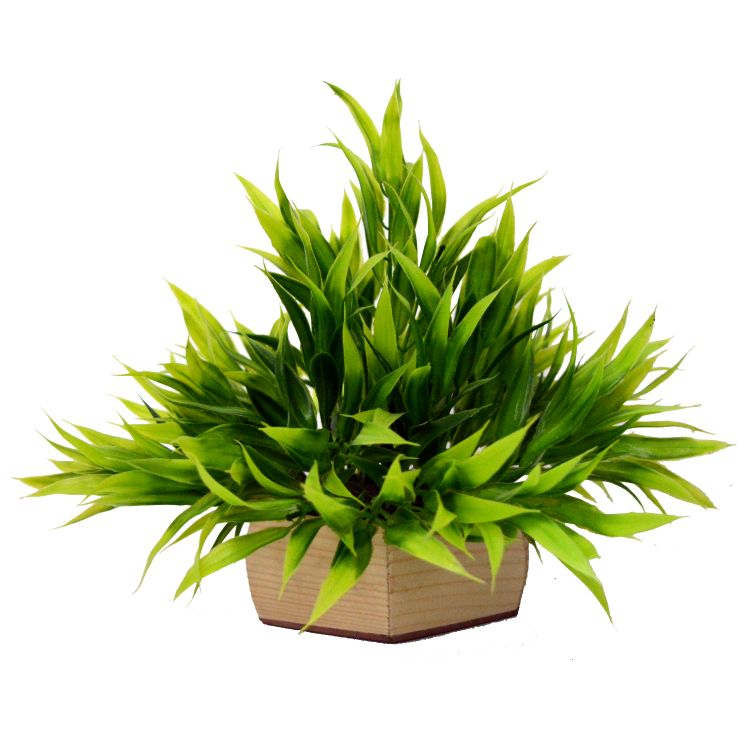 Artificial Bamboo Leaves Plant with Natural Wood Pot