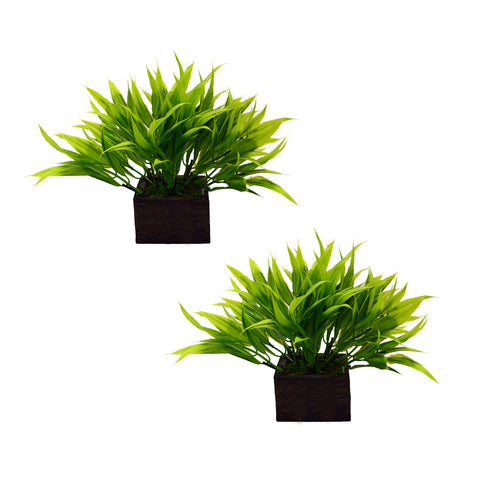Artificial Bamboo Leaves in Wood Pot - (Set of 2)