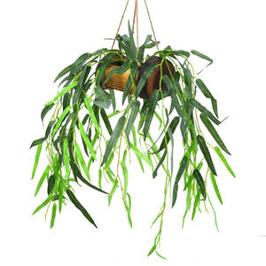 Artificial Falling Leaves Willow Hanging in Wood Buckle Pot
