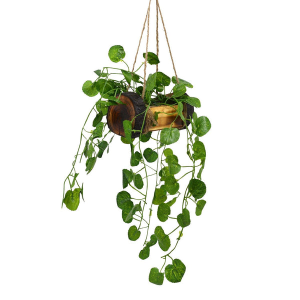 Artificial Falling Leaves Hanging in Wood Buckle Pot