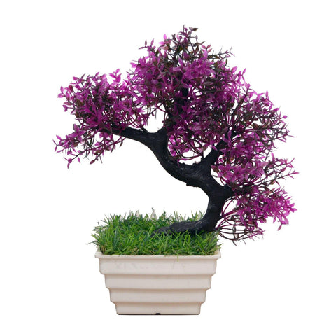 Artificial Tilted Bonsai Plant in Square Topaz Pot - Fancy Mart