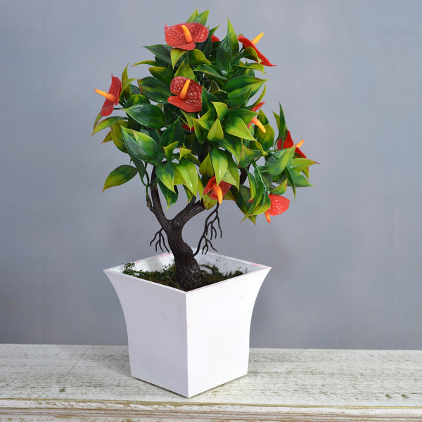 Artificial Calla Lilly Bonsai in Ruby Pot (Height : 26 cm)