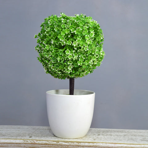 Artificial Round Topiary Bonsai in Round pot (Height : 26 cm)