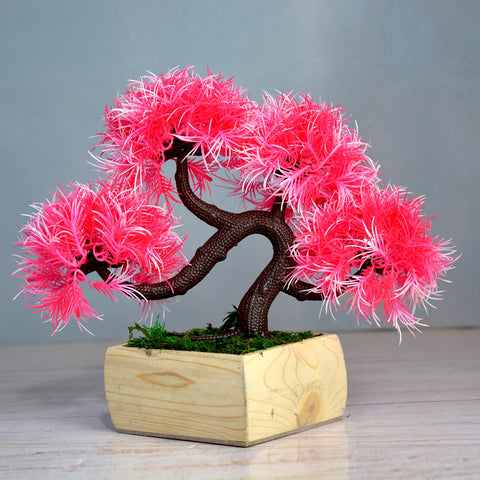 Artificial Bonsai Mix in Wood Blossom pot (Height : 21 cm)
