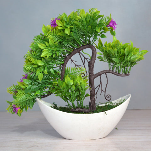 Artificial Bonsai Mix in Boat pot (Height : 28 cm)