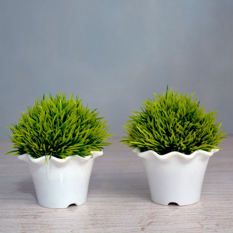 Artificial Grass Topiary in mini blossom pot (Height : 13.5 cm) Set of 2