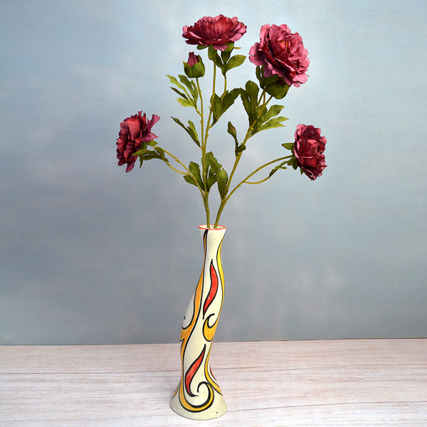 Artificial Flower sticks (set of 2) Common Peony 3 flower Heads without pot (Height : 75 cm )