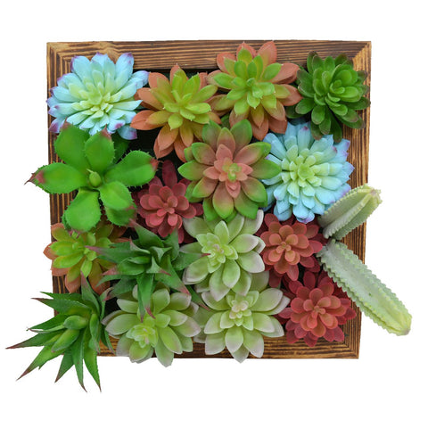 Artificial Colourful Succulents and cactus Wall Hanging Panel (30 cm X 30 cm )