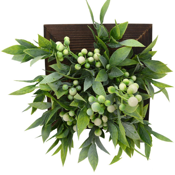 Artificial Green Wall Berries plant Hanging Panel (20 cm X 20 cm )