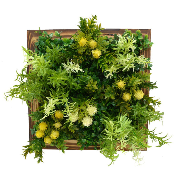 Artificial Latex Plants Green Wall Hanging Panel (30 cm X 30 cm )