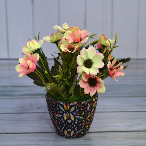 Artificial Flower Chrysenthum in Diamond Pot (Height : 23 cm)