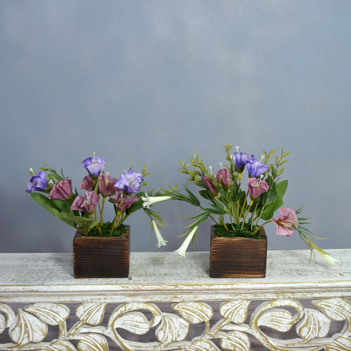 Artificial Flower Lilies in Wooden Pot - Set of 2 - (Height : 15 cm)