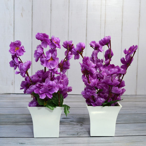 Artificial Flower Blossom in Ruby Pot - Set of 2 - (Height : 30 cm)