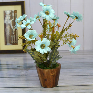 Artificial Flower Daisy in Round Wood Pot (Height : 30 cm)