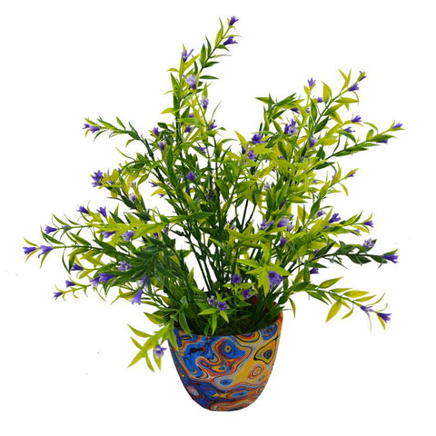 Artificial Grass Flower in Round Texture Pot (Height : 25 cm)