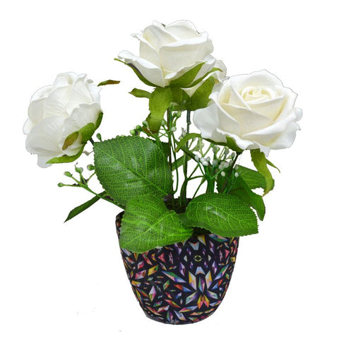 Artificial Rose Flower (4 Heads) in Round Texture Pot (Height : 18 cm)