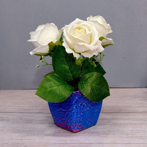 Artificial Rose Flower (3 Heads) in Texture Pot (Height : 15 cm)