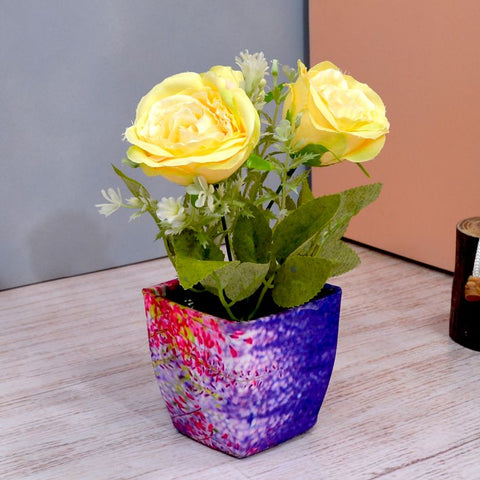 Artificial Rose Flower (3 Heads) in Square Texture Pot (Height : 15 cm)