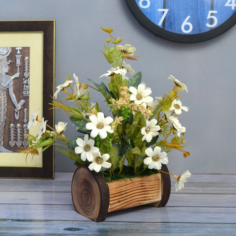 Artificial Daisy Flower in Buckle Pot (Height 30 cm)