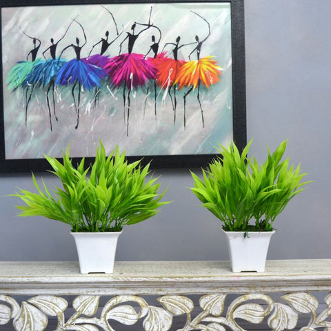 Artificial Bamboo Leaves (Set of 2) in Gamla Pot (Height : 17 cm)