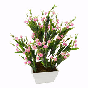 Artificial Mini Carnation Grass Flower Plant in White Square pot - Fancy Mart