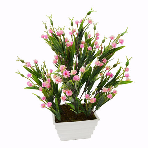 Artificial Mini Carnation Grass Flower Plant in White Square pot