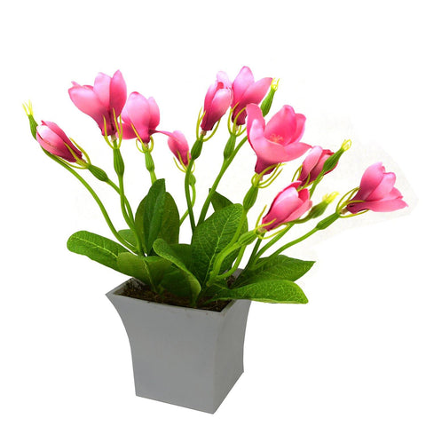 Artificial Lilly Bloom Flower Plant in White Square pot