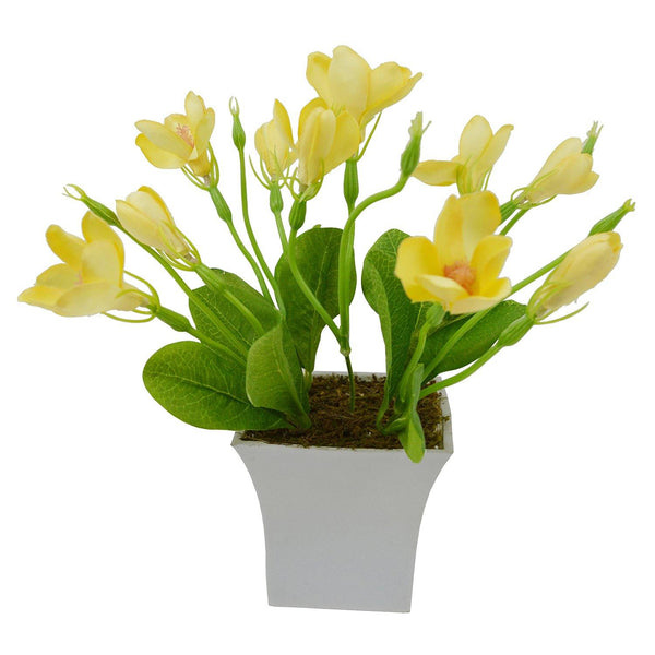 Artificial Lilly Bloom Flower Plant in White Square pot - Fancy Mart