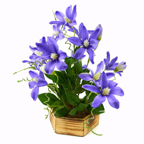 Artificial Lilly Buds Flower Plant in Wood Hexagun pot