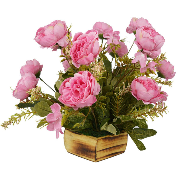 Artificial Tree Peony in Wood Hexagun Pot - Fancy Mart