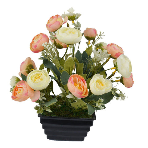 Artificial Peony in Square Step Pot - Fancy Mart