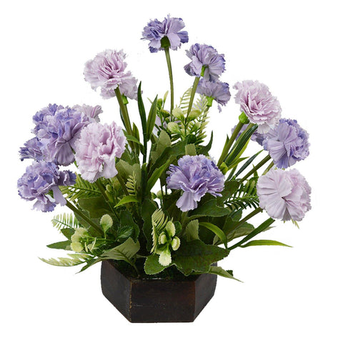 Artificial Carnation Flowers in Wood Hexagun Pot