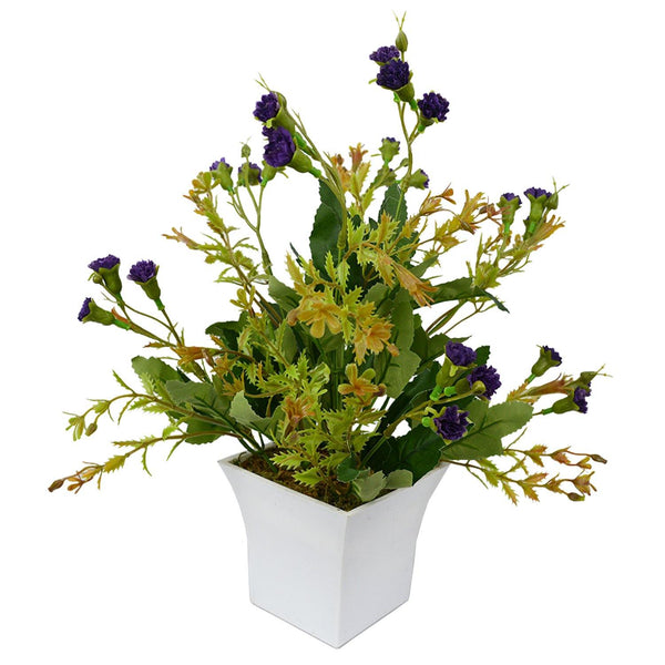 Artificial Mini Carnation Flowers in Long Square White Pot - Fancy Mart