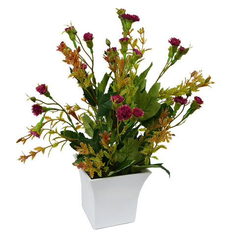 Artificial Mini Carnation Flowers in Long Square White Pot