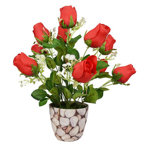Artificial Rose Bouquet in Round Texture Pot - Fancy Mart