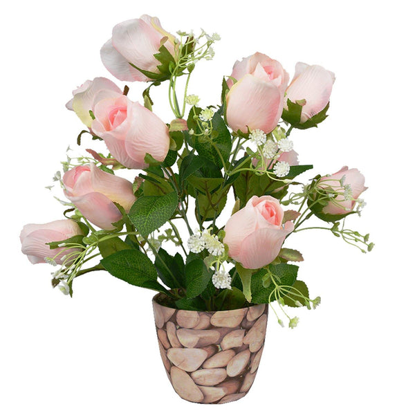 Artificial Rose Bouquet in Round Texture Pot