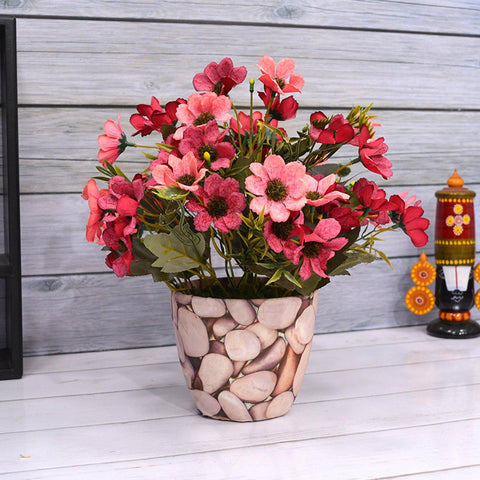 Artificial Small Chrissanthemum in Big Stone Texture Pot - Fancy Mart