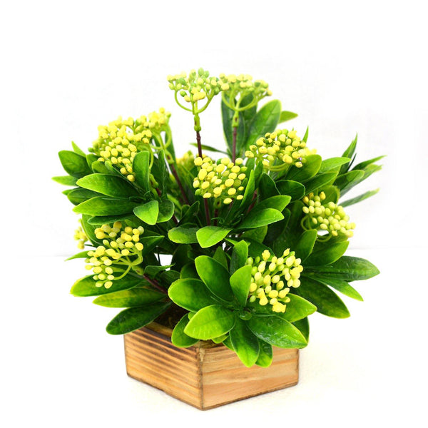 Artificial Beads Leaves Plant in Wood Hexagun pot - Fancy Mart