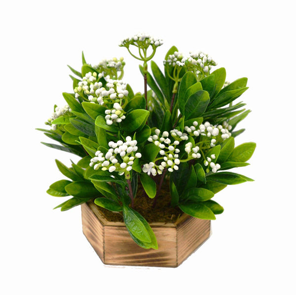 Artificial Beads Leaves Plant in Wood Hexagun pot