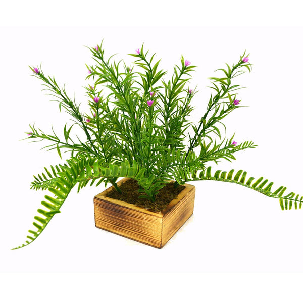 Artificial Grass Flowers Plant in Wood Square pot - Fancy Mart