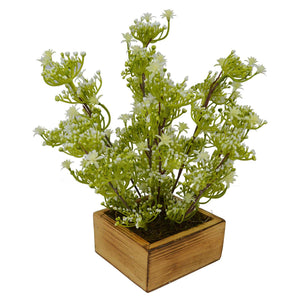 Artificial White Beads Leaves Plant in Wood Square pot - Fancy Mart