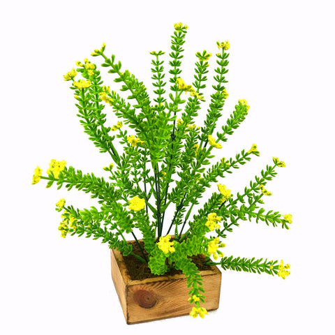 Artificial Bush Flower Plant in Wood Square pot