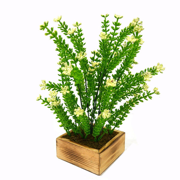 Artificial Bush Flower Plant in Wood Square pot - Fancy Mart