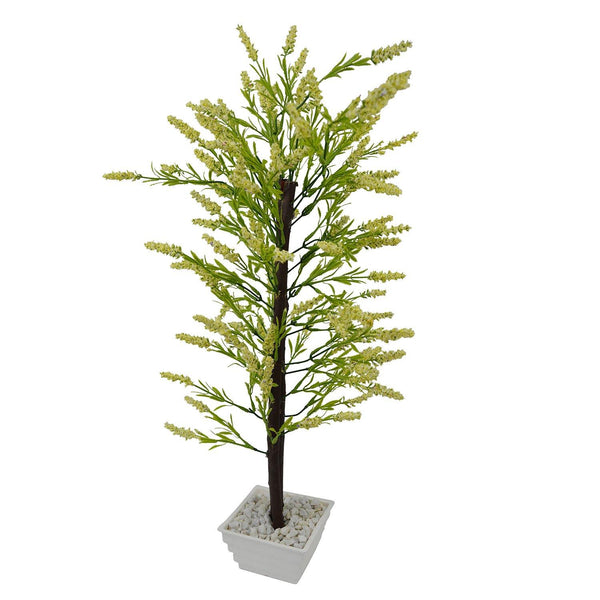 Artificial Fern Leaves Bonsai Tree with White Square pot - Fancy Mart